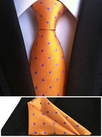 NEW Designer's Tie Set 8cm Formal Necktie Orange with Purple Dots Gravata with Woven Handmade Pocket Square - On Trends Avenue