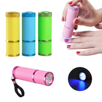 1pc Mini 9 LED Mini UV gel nail lamp 9W LED Light Lamp Flashlight Fast Dry Cure Nail Dryer for UV Gel & Nail Polish - On Trends Avenue