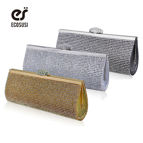 ECOSUSI New Sophisticated Crystals Evening Bag Rhinestones Clasp Flap Women Clutch Bags Baguette Wallets Purse Party - On Trends Avenue