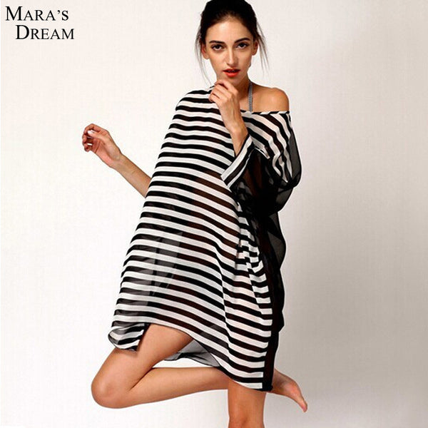 Black and White Stripes Sheer Swimsuit Cover Up - On Trends Avenue