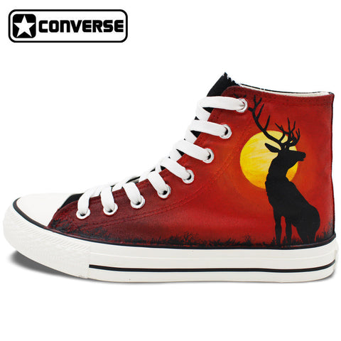 Custom Hand Painted Shoes Converse Chuck Taylor Reindeer in Sunset High Top Canvas Sneakers Unique Gifts for Men Women