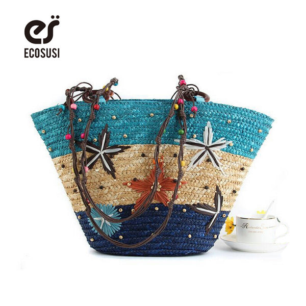 ECOSUSI New Straw Bag Fashion Women Shoulder Large Capacity Beach Bag Women Grass Handbag Durable Ladies Tote Ocean Women Bags - On Trends Avenue