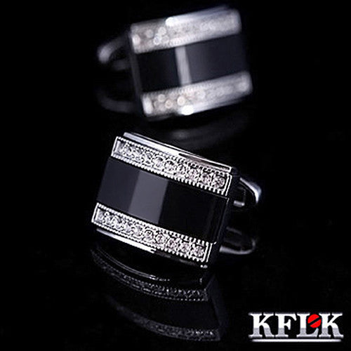KFLK Jewelry french shirt cufflink for mens Brand Fashion Black Cuffs link Button High Quality Luxury Wedding - On Trends Avenue