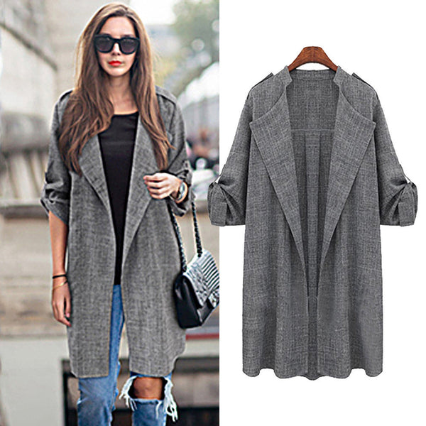large Plus size 5XL Womens Open Front Trench Coat Long Cloak Overcoat Waterfall Cardigan Long Women Basic Coat - On Trends Avenue