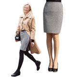 New Lady Sexy OL Above knee Mid-Waisted Swallow gird Office half skirt Split Plaid Pencil Skirt S-4XL XXXXL - On Trends Avenue