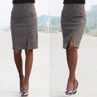 new arrival spring and autumn Winter Split check plaid Knee-length pencil skirt OL office skirts SMLXXXXL Autumn - On Trends Avenue