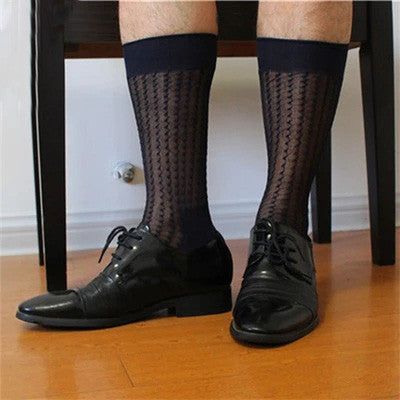 Stripe Men formal Silk socks Suits sheer sexy Socks Transparent Male Sock Dress fetish Sock 2 Color available - On Trends Avenue
