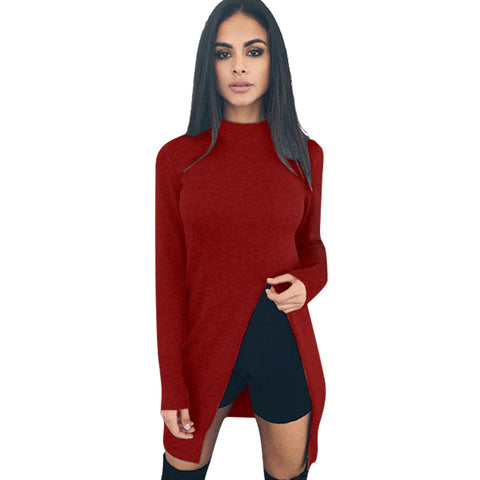 Casual Roupa Pullovers T-Shirt Long-Sleeve Splits Loose Pencil T Shirt Basic Winter Autumn Blusas Femininas Casimas LJ5765U - On Trends Avenue