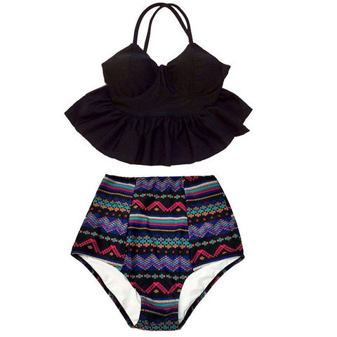 New Bikinis Women High Waist Swimsuit Push Up Bikini Set Swimwear Female Halter Top Beach Wear Bathing Suits Dress XL - On Trends Avenue