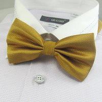 men's solid bowtie bows yellow tie knots neck ties necktie butterflies neckwear #15 - On Trends Avenue