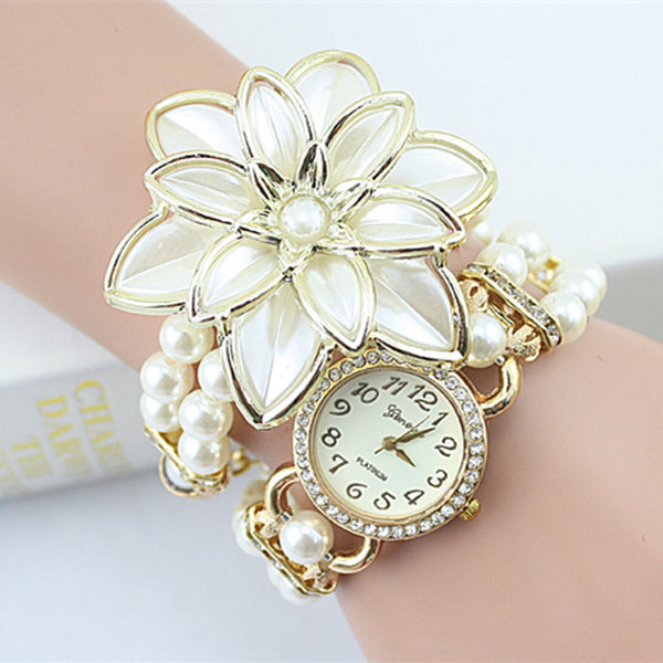 Hot Sale Lady Luxury White Flower Bracelet Watches Women Fashion Pearl Quartz Wristwatches Relogio Feminino Montre Femme - On Trends Avenue