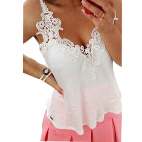 Women Ladies Summer Tank Tops Sexy Spaghetti Strap V neck Lace Crochet Chiffon Vest Casual Beach Camisoles Plus Size 9 Colors - On Trends Avenue