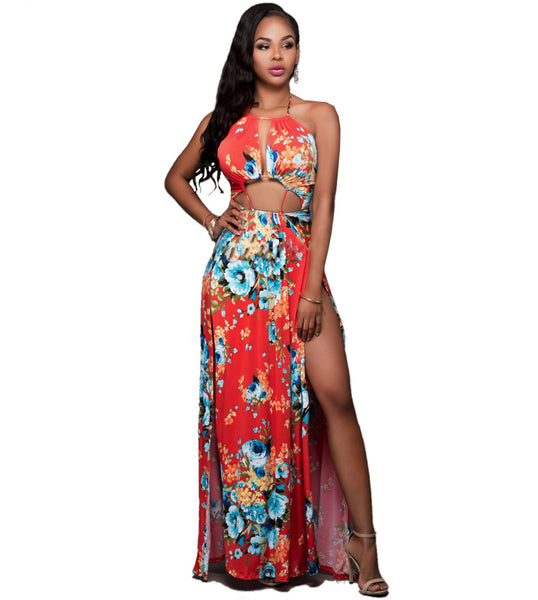 Women's Bohemian Dresses Hawaii Holiday Style Sun Flower Floral Printed Summer Women Backless Split Beach Dress