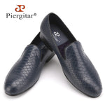 Piergitar new style men handmade Crocodile embossing Genuine Leather shoes British style smoking slippers men's casual loafers