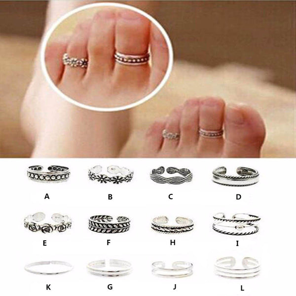 1pcs Ring Sets Mix Celebrity Fashion Simple Retro Carved Flower Adjustable Toe/Foot Ring Finger Ring Women Jewelry - On Trends Avenue