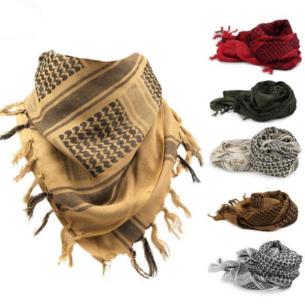100% Cotton Arab Keffiyeh Shemagh Scarf Military Tactical Scarves Thickened Hijab Square Windproof Bandanas Camping Scarf - On Trends Avenue