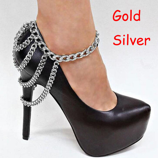 1Piece Punk Shoes Chain Anklets Boots Heel Ankle Bracelet Metal Multilayer Tassels Foot Jewelry women Summer Bracelets - On Trends Avenue