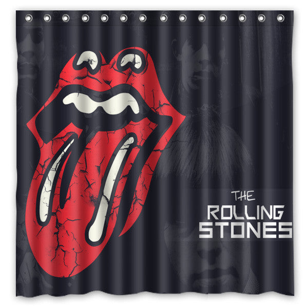 [180*180cm]Custom The Rolling Stones Polyester Bathroom Shower Curtain Waterproof Fabric Bath Decorative Curtain with Hooks - On Trends Avenue