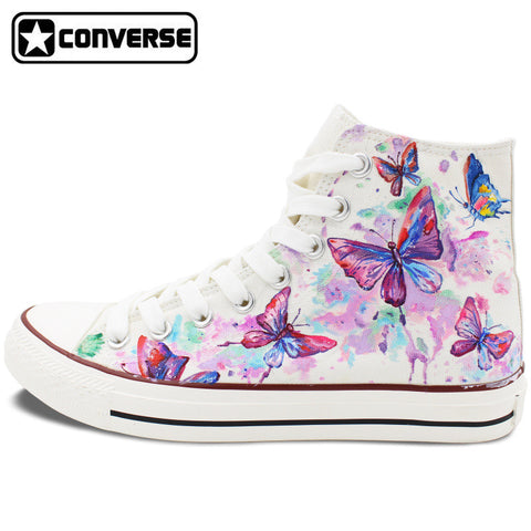 New Hand Painted Shoes Colorful Butterfly Converse Chuck Taylor High Top Canvas Sneakers Christmas Gifts Men Women