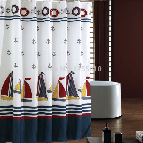 Fabric polyester sailboat waterproof shower curtain thicken shower curtain bathroom curtains, - On Trends Avenue