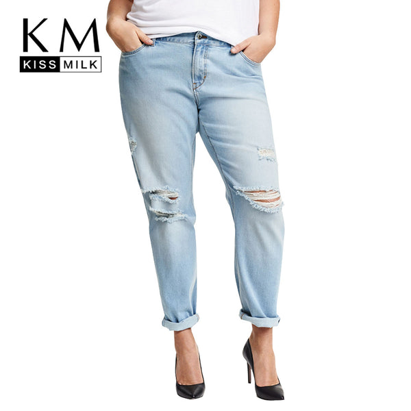 Kissmilk Plus Size New Fashion Women Clothing Casual Solid Broken Jeans Female Button Long Distressed Jeans 3XL 4XL 5XL 6XL - On Trends Avenue