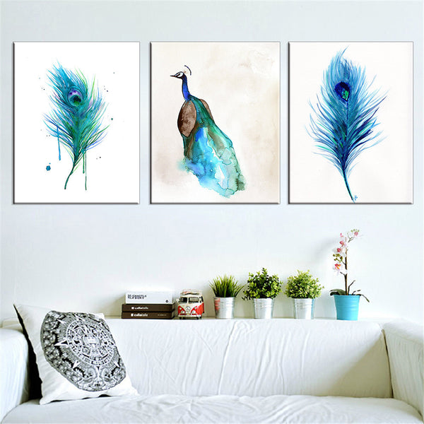 Canvas Painting Peacock Wall Pictures Cuadros Decoration Home Decor Blue Oil Paintings for Living Room Modern No Frame 3 Pieces - On Trends Avenue