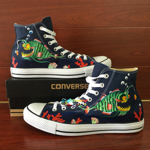 Blue Converse Chuck Taylor Men Women Shoes Hand Painted Shoes Angler Fish Original Design High Top Sneakers Man Woman