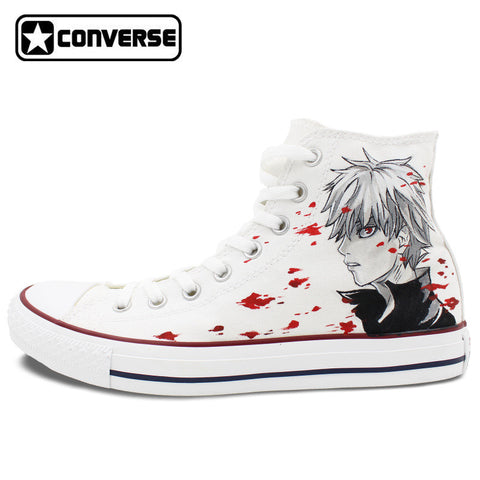 Converse Chuck Taylor Women Men Shoes Anime Tokyo Ghouls Custom Design Hand Painted Shoes High Top White Sneakers Cosplay Gifts