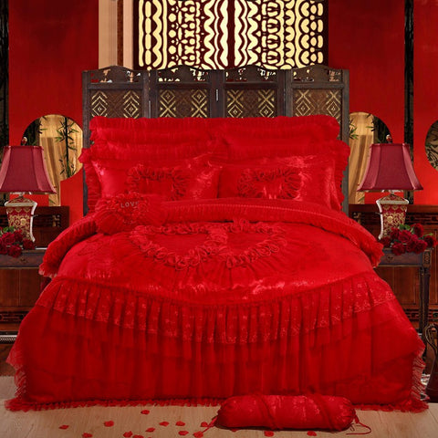 4/6 pcs Oriental lace red  pink  luxury bedding set queen King size wedding bed cotton bed sheets duvet cover set bedspreads - On Trends Avenue