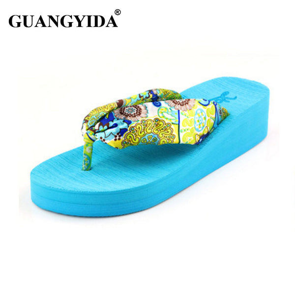 7b2c7da4bde4bf Women Sandals New 2017 Summer bohemia flower Women flip flops Platform  Wedges Women Sandals slippers beach ...