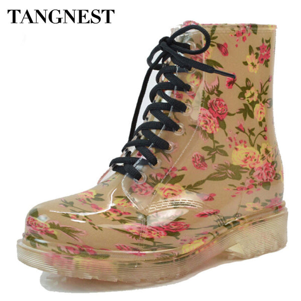 Tangnest 2017 Women's Rain Boots Round Toe Rubber Shoes Floral Leopard Lace-Up Ankle Boots Woman Big Size 36-40 XWX2327 - On Trends Avenue
