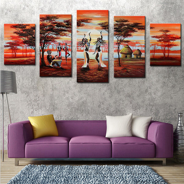 5 Panel Group Oil Paintings African Dancing Hand Painted Landscape Canvas Painting Unframed Painting Calligraphy Decor Picture - On Trends Avenue