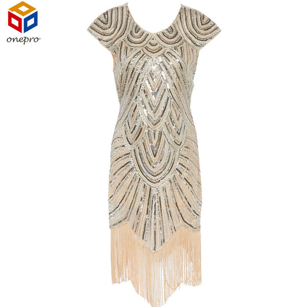 Shining Woman 1920s Flapper Dress Vintage Great Gatsby Charleston Sequin Fringe Evening Party Dress Plus Size Dress - On Trends Avenue