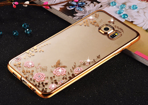 Rhinestones Soft TPU Plating Cases For Samsung Galaxy A3 A5 Case A7 Galaxy J5 J1 J3 Case Samsung Galaxy S7 edge S6 S3 Case - On Trends Avenue