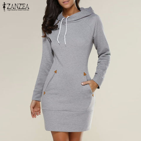 ZANZEA Women Winter Dress 2017 New Arrival Casual Slim Solid Long Sleeve Mini Dresses Hooded Plus Size Vestidos - On Trends Avenue