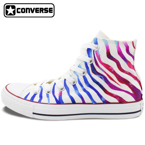 Colour Zebra Stripes Original Design Converse Chuck Taylor Custom Hand Painted Shoes Man Woman High Top Sneakers Women Men