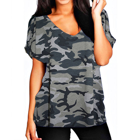 Plus Size S-5XL T shirt  Fashion Women V-neck Short Sleeve Basic T-shirt Summer Casual Loose Cotton Tops Tee Female Blusas - On Trends Avenue