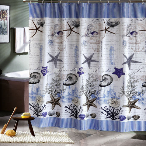 Fabric polyester blue sea life seashell waterproof shower curtain thicken shower curtain bathroom curtains,