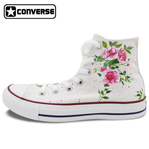 Canvas Shoes Women Men Converse All Star Flower Floral Original Design Hand Painted Shoes High Top Man Woman Sneakers Gifts