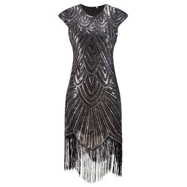a1cee4caf4ba Shining Woman 1920s Flapper Dress Vintage Great Gatsby Charleston Sequin  Fringe Evening Party Dress Plus Size