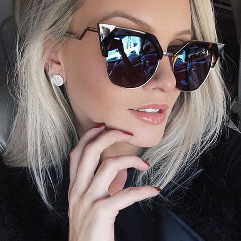 Winla Cat Eye Sunglasses Women Newest Fashion Designer Coating Mirrors Metal Bending Temple Sun Glasses Feminino UV400 WL1004 - On Trends Avenue