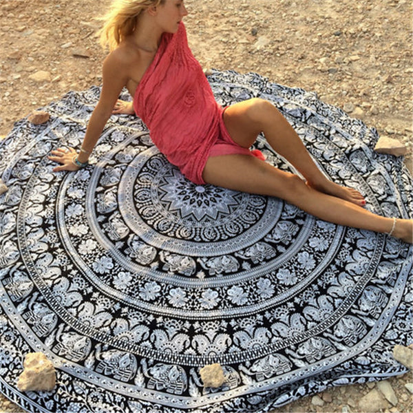 New Arrivals Round Beach Blanket Printed Yoga Mat Beach Roundie Mandala Circle Blanket Round Tapestry Yoga Blanket #G13 - On Trends Avenue