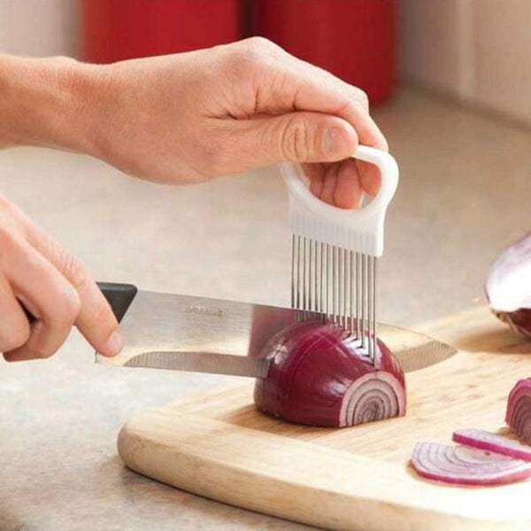 Convenient Kitchen Cooking Tool Onion Tomato Vegetable Slicer Cutting Aid Guide Holder Fruit Slicing Cutter Gadget - On Trends Avenue