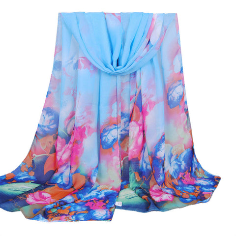 Summer Print Silk Scarf Oversized Chiffon Scarf Women Wrap Sarong Sunscreen Pareo Beach Cover Up Long Cape Female - On Trends Avenue