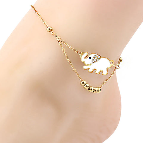 Fashion White Enameled Elephant Anklet Metal Beads Chain Anklet Summer Beach Jewelry 24+5cm - On Trends Avenue