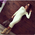 Women Twisted Back Slit Sweater Dress Solid Color - On Trends Avenue