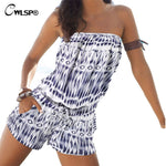Bohemian Beach Playsuit Summer Romper Women Loose tie dye jumpsuit Print Sexy Strapless Bodysuit Combinaison Femme QL2279 - On Trends Avenue