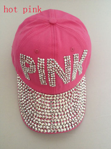 New Retail Diamond Point pink letters cotton denim pink caps women baseball cap rhinestone cap girls Hat rhinestone print - On Trends Avenue