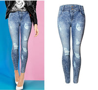 2082 New 2017 Women's Vintage Ripped High Waist Jeans Pencil Stretch Denim Pants Female Slim Skinny Trousers WinterJeans - On Trends Avenue