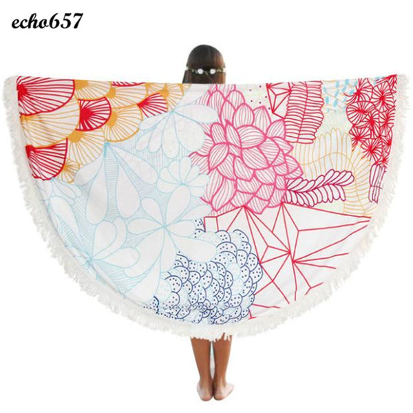 Hot Printed Beach Towel Echo657 Fashion Polyester Round Summer Beach Pool Home Shower Towel Blanket Table Beach Towel Jan 10 - On Trends Avenue